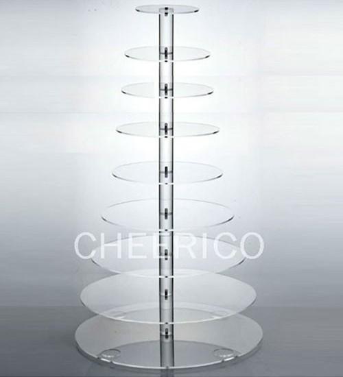 10 Tier Maypole Acrylic Round Cupcake Stand Tower