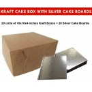 "Kraft Cake Boxes with Square boards - 10"" x 10"" x 4"" ($3.8 /pc x 20 units)"