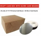 "Kraft Cake Boxes with Round boards - 11"" x 11"" x 4"" ($3.9 /pc x 20 units)"