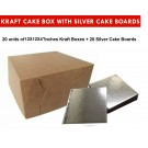 "Kraft Cake Boxes with Square boards - 12"" x 12"" x 4"" ($4.2/pc x 20 units)"