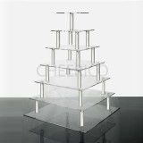 7 Tier Square Acrylic Square Cupcake Stand Tower Display